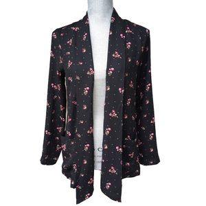 BAND OF GYPSIES NWT Black Micro Floral Long Sleeve Boho Blouse Tie Front Blazer